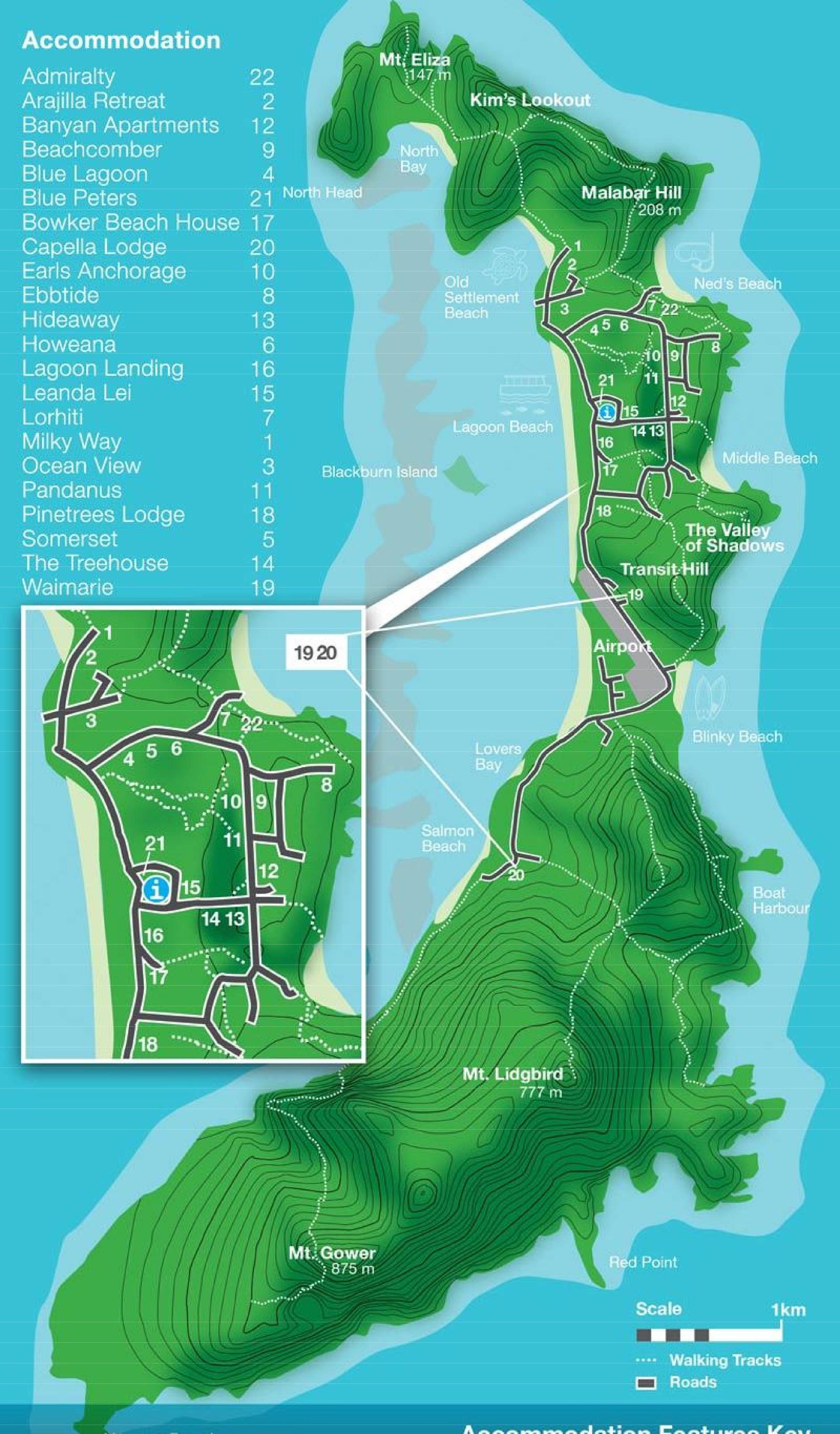 Lord Howe Island Map lord howe island map 1   Eastern Tour Services